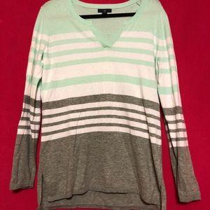 Gap Striped High Low Lightweight Sweater